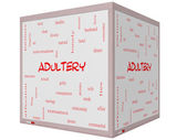 Adultery Word Cloud Concept on a 3D cube Whiteboard — Stock Photo