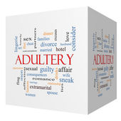 Adultery 3D cube Word Cloud Concept — Stock Photo