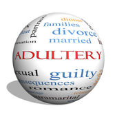 Adultery 3D sphere Word Cloud Concept — Stock Photo