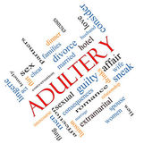 Adultery Word Cloud Concept Angled — Stock Photo