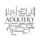 Adultery Word Cloud Concept in black and white — Stock Photo