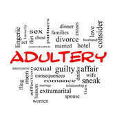 Adultery Word Cloud Concept in red caps — Stock Photo