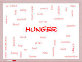 Hunger Word Cloud Concept on a Whiteboard — Stock Photo