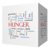 Hunger 3D cube Word Cloud Concept — Stock Photo