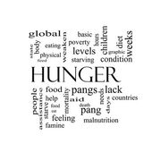 Hunger Word Cloud Concept in black and white — Stock Photo