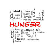Hunger Word Cloud Concept in red caps — Stock Photo