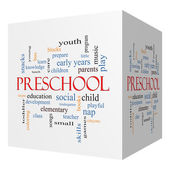 Preschool 3D cube Word Cloud Concept — Stock Photo