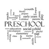 Preschool Word Cloud Concept in black and white — Stock Photo