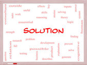 Solution Word Cloud Concept on a Whiteboard — Foto Stock