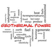 Geothermal Power Word Cloud Concept in red caps — Stock Photo
