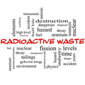 Radyoaktif atık kelime bulutu kavramı kırmızı kapaklar — Stok fotoğraf