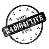 Black Weathered Radioactive Waste Stamp Circle and Symbols — Stock Photo