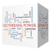 Geothermal Power 3D cube Word Cloud Concept — Stock Photo