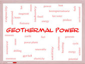 Geothermal Power Word Cloud Concept on a Whiteboard — Stock Photo