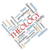 Teologi ordet moln koncept vinklad — Stockfoto