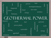 Geothermal Power Word Cloud Concept on a Blackboard — Stock Photo