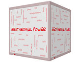 Geothermal Power Word Cloud Concept on a 3D cube Whiteboard — Stock Photo