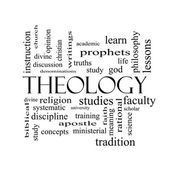 Theology Word Cloud Concept in black and white — Stock Photo