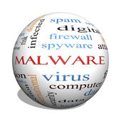 Malware 3D sphere Word Cloud Concept — Stock Photo