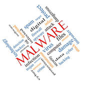 Malware Word Cloud Concept Angled — Stock Photo
