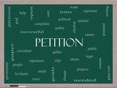 Petition Word Cloud Concept on a Blackboard — Stok fotoğraf