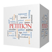 Petition 3D cube Word Cloud Concept — Stock Photo