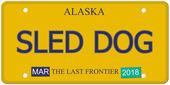 Sled Dog Alaska License Plate — Stock Photo