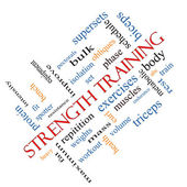 Strength Training Word Cloud Concept Angled — Stock Photo