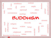 Buddhism Word Cloud Concept on a Whiteboard — Stock Photo