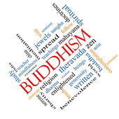 Buddhism Word Cloud Concept Angled — Stock Photo