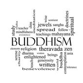 Buddhism Word Cloud Concept in black and white — Stock Photo