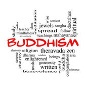 Buddhism Word Cloud Concept in red caps — Foto de Stock