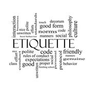 Etiquette Word Cloud Concept in black and white — Stock Photo