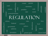 Regulation Word Cloud Concept on a Blackboard — Stock Photo