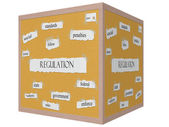 Regulation 3D cube Corkboard Word Concept — Stock Photo
