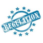 Blue Weathered Regulation Stamp Circle and Stars design — Stock Photo