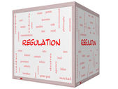 Regulation Word Cloud Concept on a 3D cube Whiteboard — Stock Photo