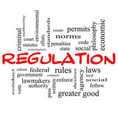 Regulation Word Cloud Concept in red caps — Stock Photo