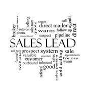 Sales Lead Word Cloud Concept in black and white — ストック写真