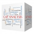 Gap Analysis 3D cube Word Cloud Concept — Stock Photo