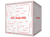 Gap Analysis Word Cloud Concept on a 3D cube Whiteboard — Stock Photo