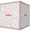 Family Word Cloud Concept on a 3D cube Whiteboard — Stock Photo