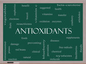 Antioxidants Word Cloud Concept on a Blackboard — Stock Photo