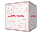 Antioxidants Word Cloud Concept on a 3D cube Whiteboard — Stock Photo