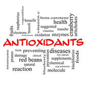 Antioxidants Word Cloud Concept in red caps — Stock Photo