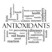 Antioxidants Word Cloud Concept in black and white — Stock Photo
