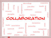 Collaboration Word Cloud Concept on a Whiteboard — Stockfoto