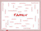 Family Word Cloud Concept on a Whiteboard — Stock Photo