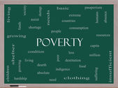 Poverty Word Cloud Concept on a Blackboard — Stock Photo
