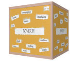 Poverty 3D cube Corkboard Word Concept — Stock Photo